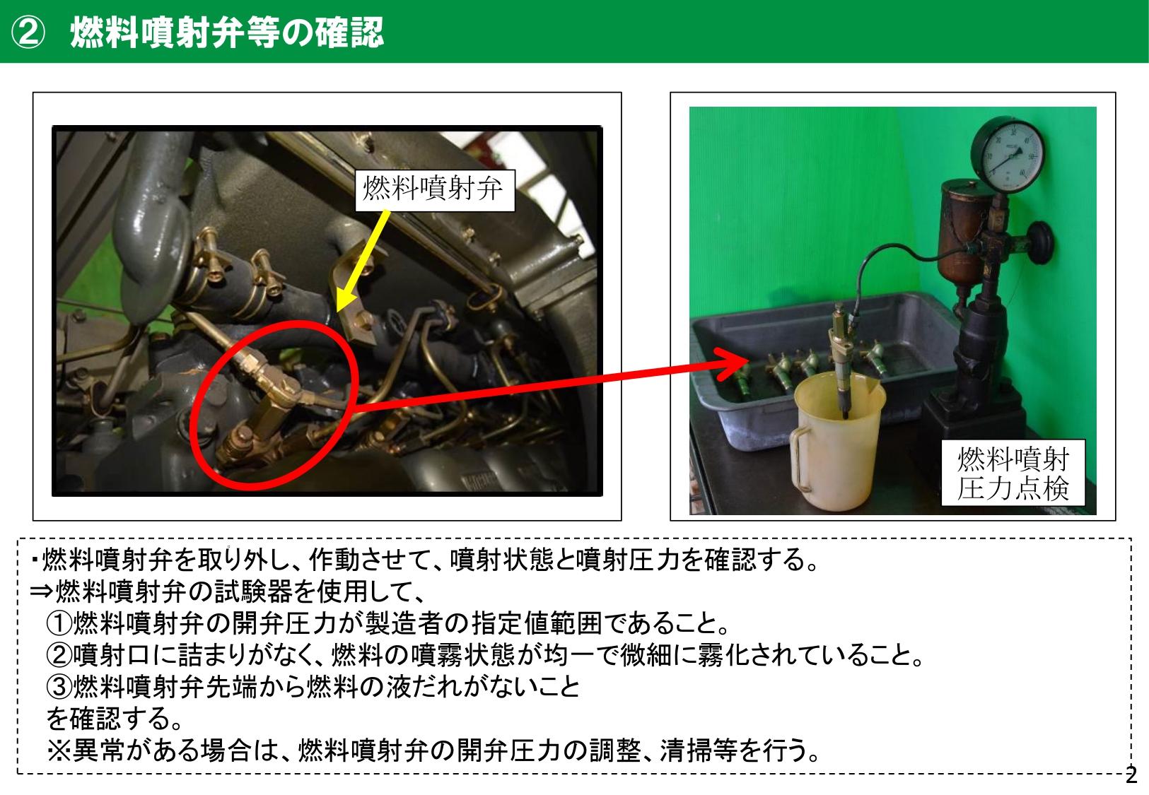 燃料噴射弁等の確認