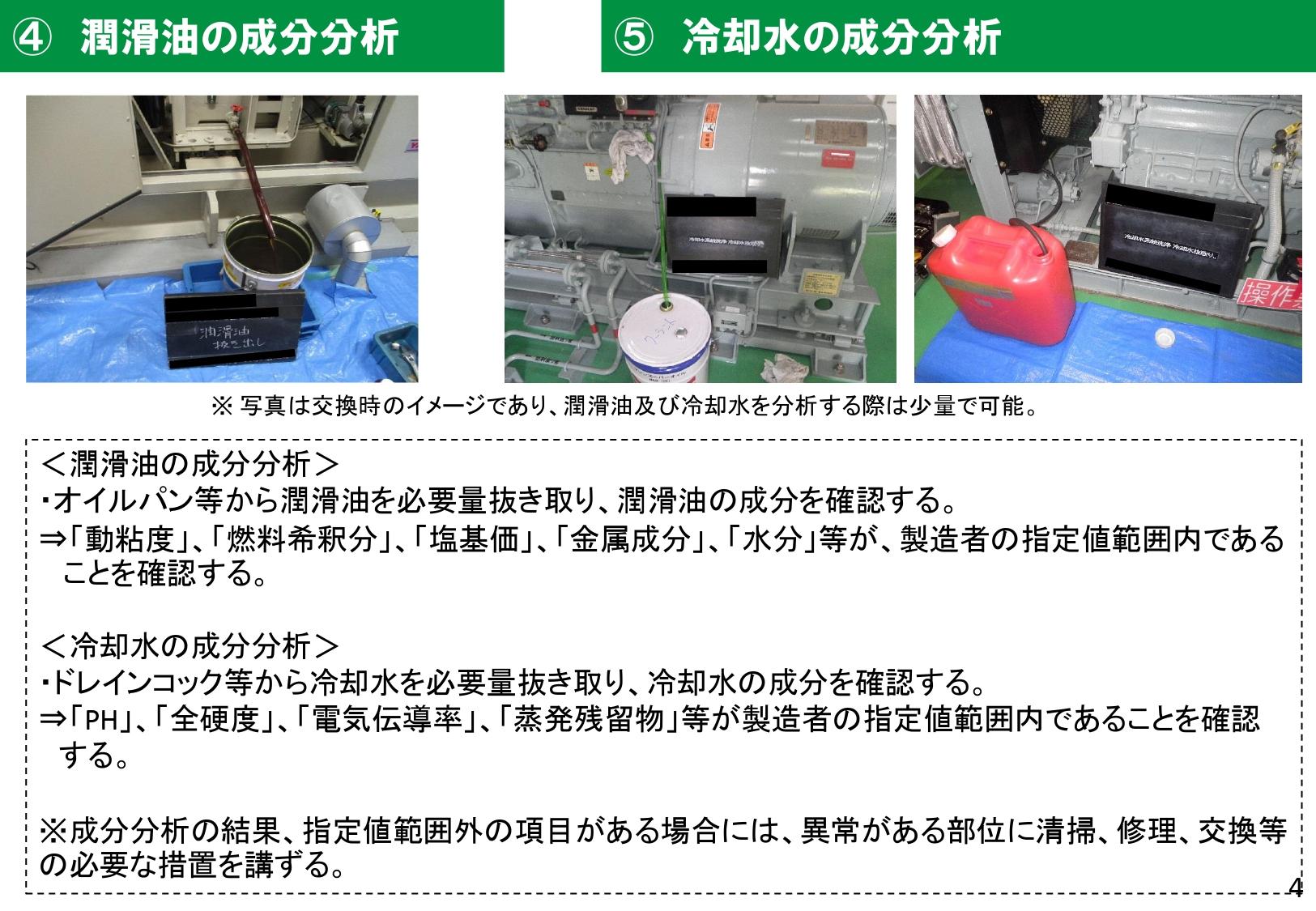潤滑油・冷却水の成分分析